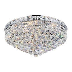 "22"" Primo Transitional Round Crystal Flush Mount Ceiling Chandelier Polished Chrome 12 Lights"
