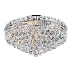 "22"" Primo Transitional Round Crystal Flush Mount Ceiling Chandelier Polished Chrome 12 Lights"