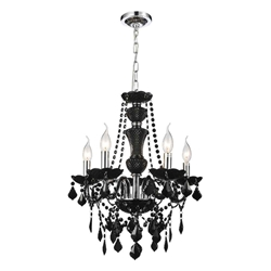 "22"" Victorian Traditional Crystal Round Chandelier Jet Black 5 Lights"