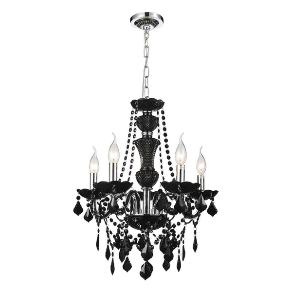 """Picture of 22"""" Victorian Traditional Crystal Round Chandelier Jet Black 5 Lights"""