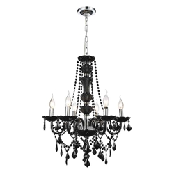 "22"" Victorian Traditional Crystal Round Chandelier Jet Black 6 Lights"
