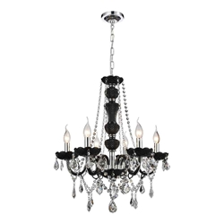 "22"" Victorian Traditional Crystal Round Chandelier Jet Black Frame Clear Crystals 6 Lights"
