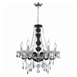 "22"" Victorian Traditional Crystal Round Chandelier Jet Black Frame Clear Plates and Crystals 6 Lights"