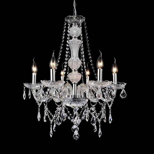 "Picture of 22"" Victorian Traditional Crystal Round Chandelier Polished Chrome 6 Lights"