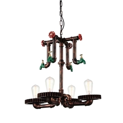 "23"" 4 Light Up Chandelier with Speckled copper finish"