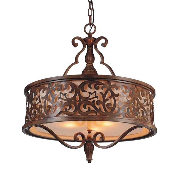 "Picture of 23"" 5 Light Drum Shade Chandelier with Brushed Chocolate finish"