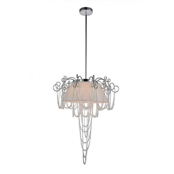 "Picture of 23"" 5 Light Drum Shade Chandelier with Chrome finish"