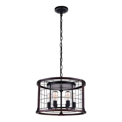 "23"" 6 Light Drum Shade Pendant with Black finish"