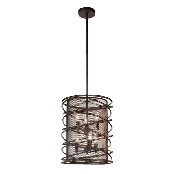 "Picture of 23"" 6 Light Up Chandelier with Brown finish"