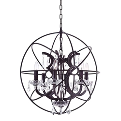 """23"""" 6 Light Up Chandelier with Brown finish"""