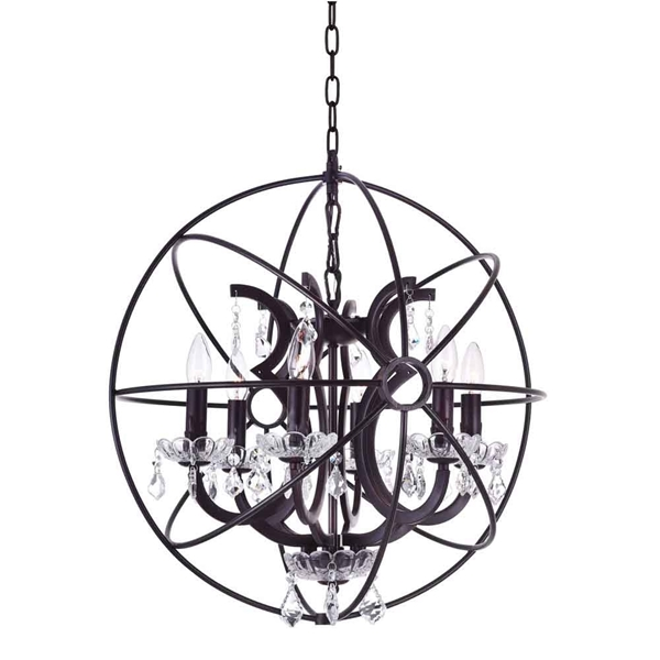 """Picture of 23"""" 6 Light Up Chandelier with Brown finish"""