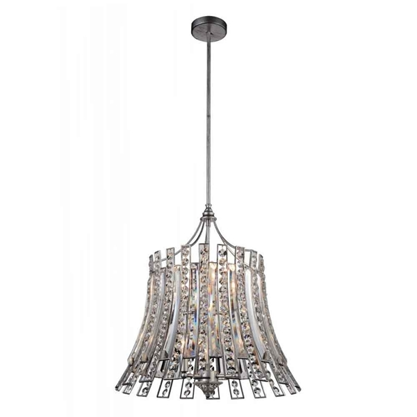 """Picture of 23"""" 8 Light Drum Shade Chandelier with Antique Forged Silver finish"""