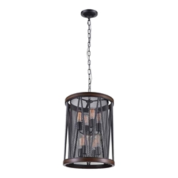 "23"" 8 Light Drum Shade Chandelier with Pewter finish"