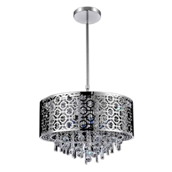"23"" Forme Modern Laser Cut Drum Shade Round Crystal Pendant Chandelier Stainless Steel 8 Lights"