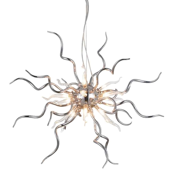 """Picture of 23"""" Medusa Modern Round Chandelier Polished Chrome Clear Glass Shades 15 Lights"""