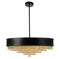 """24"""" 10 Light Drum Shade Chandelier with Black finish"""