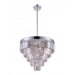 """24"""" 12 Light Down Chandelier with Chrome finish"""