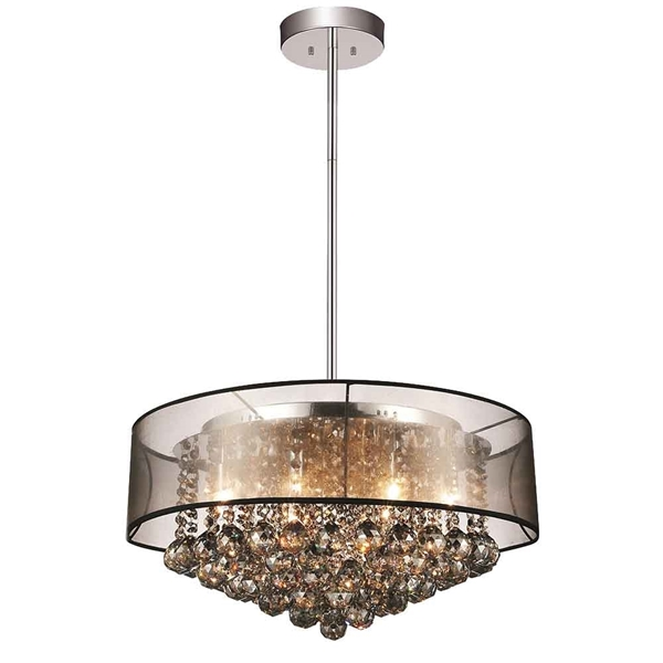 "Picture of 24"" 12 Light Drum Shade Chandelier with Chrome finish"