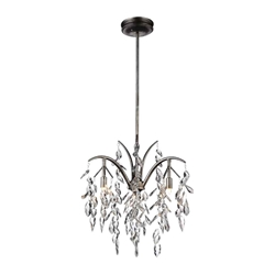 """24"""" 3 Light Down Chandelier with Silver Mist finish"""