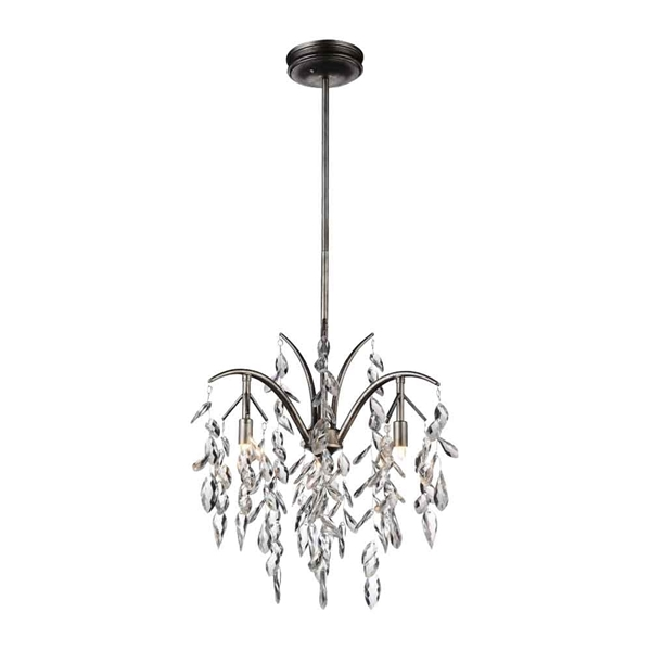 "Picture of 24"" 3 Light Down Chandelier with Silver Mist finish"