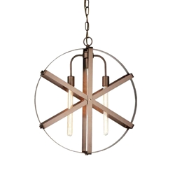 """24"""" 3 Light Down Pendant with Brown finish"""