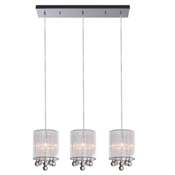 "24"" 3 Light Multi Light Pendant with Chrome finish"