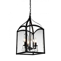 """24"""" 3 Light Up Chandelier with Black finish"""