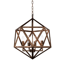 """24"""" 4 Light Up Pendant with Antique forged copper finish"""