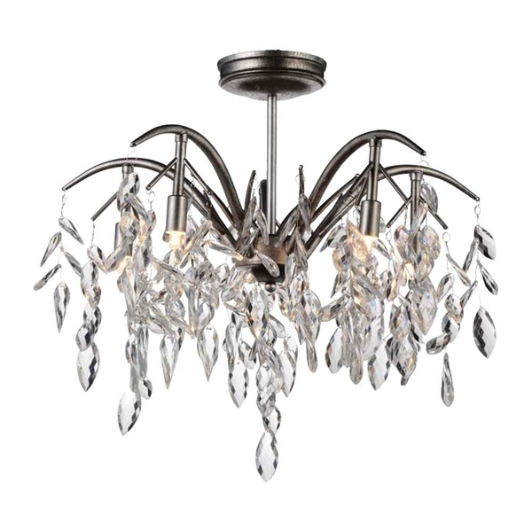 """Picture of 24"""" 5 Light  Flush Mount with Silver Mist finish"""