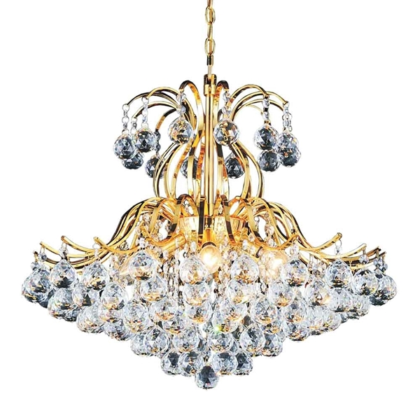 """Picture of 24"""" 6 Light Down Chandelier with Gold finish"""