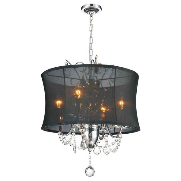 "Picture of 24"" 6 Light Drum Shade Chandelier with Chrome finish"