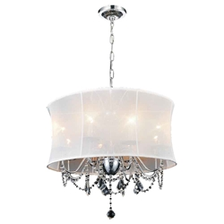 "24"" 6 Light Drum Shade Chandelier with Chrome finish"