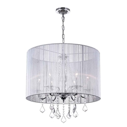 """24"""" 6 Light Drum Shade Chandelier with Chrome finish"""