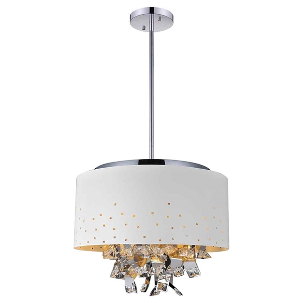 "Picture of 24"" 6 Light Drum Shade Chandelier with White finish"