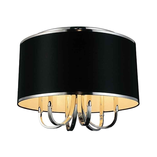 """Picture of 24"""" 6 Light Drum Shade Flush Mount with Chrome finish"""