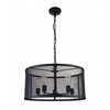 "Picture of 24"" 6 Light Drum Shade Pendant with Reddish Black finish"