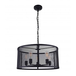 "24"" 6 Light Drum Shade Pendant with Reddish Black finish"