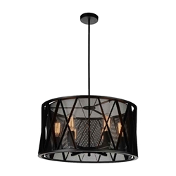 "24"" 6 Light Up Chandelier with Black finish"
