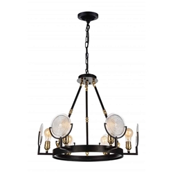 """24"""" 6 Light Up Chandelier with Brown finish"""