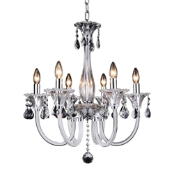 """24"""" 6 Light Up Chandelier with Chrome finish"""