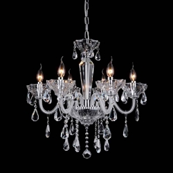 "24"" 6 Light Up Chandelier with Chrome finish"
