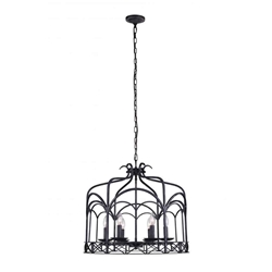 """24"""" 6 Light Up Chandelier with Grayish Brown finish"""