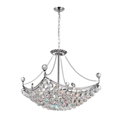 "24"" 8 Light Down Chandelier with Chrome finish"