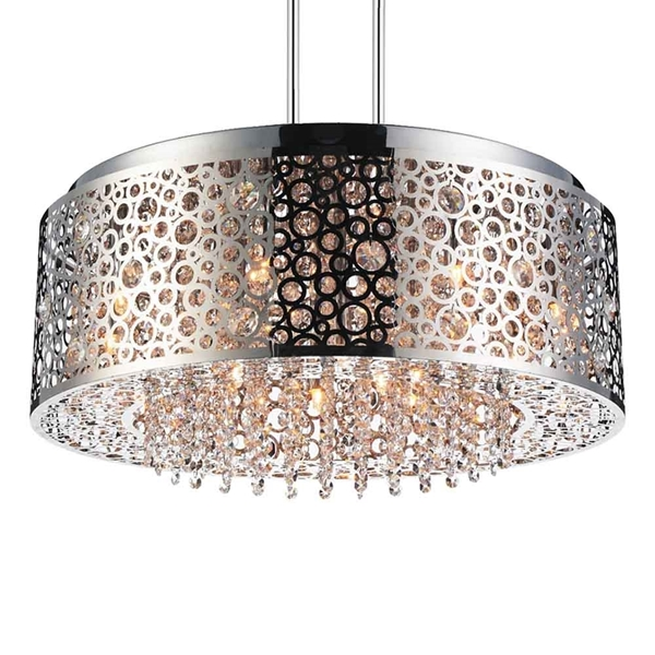 """Picture of 24"""" 9 Light Drum Shade Chandelier with Chrome finish"""