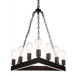 "24"" 9 Light Up Chandelier with Rust finish"
