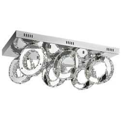 "24"" Anelli Modern Crystal Rectangular Flush Mount Polished Chrome 36 LED Lights"