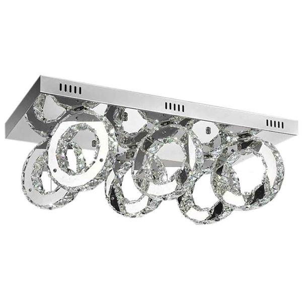 "Picture of 24"" Anelli Modern Crystal Rectangular Flush Mount Polished Chrome 36 LED Lights"