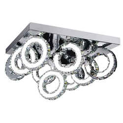 "24"" Anelli Modern Crystal Rectangular Flush Mount Polished Chrome 54 LED Lights"