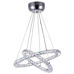 "24"" Anelli Modern Crystal Round Double Ring Chandelier Polished Chrome 39 LED Lights"
