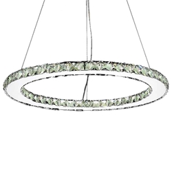 "24"" Anelli Modern Crystal Round Single Ring Chandelier Polished Chrome 24 LED Lights"